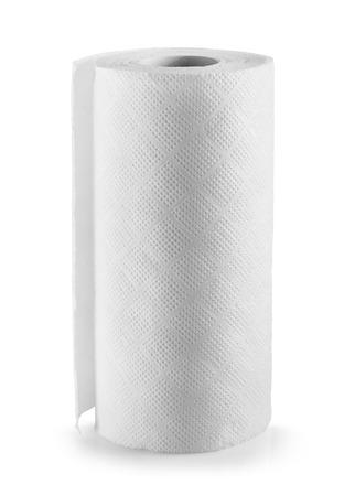 ペーパー タオルは白い背景の上にロールバックします。クリッピング パス 写真素材
