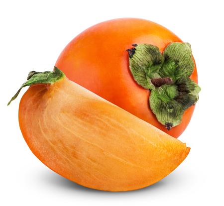 persimmon: Fruta fresca caqui aislado en un fondo blanco Foto de archivo
