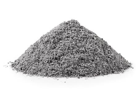 handvol grijze as op een witte achtergrond