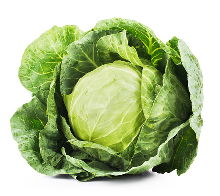 Green cabbage isolated on white background. Clipping Path Archivio Fotografico