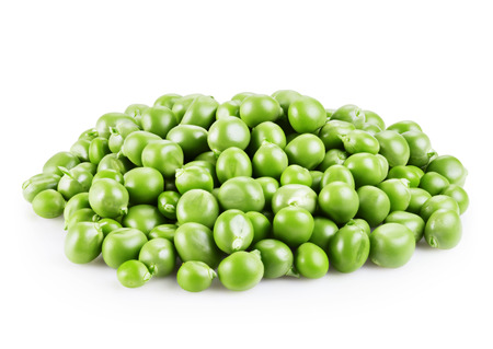 isolated on green: fresh green peas isolated on a white background. Clipping Path