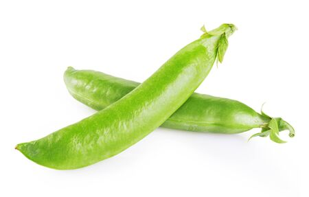 Fresh green peas isolated on white background. Clipping Path