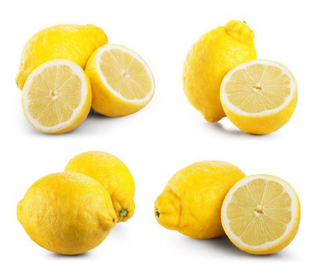lemon: Set of ripe lemon fruits isolated on white background.