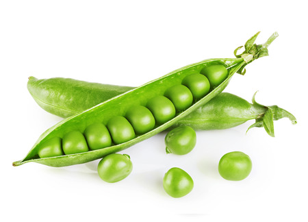 Fresh green peas isolated on white background.