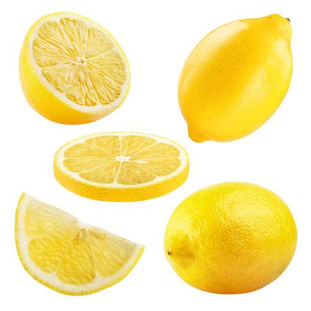 limon: Conjunto de frutos de limón maduros aislados sobre fondo blanco. Foto de archivo