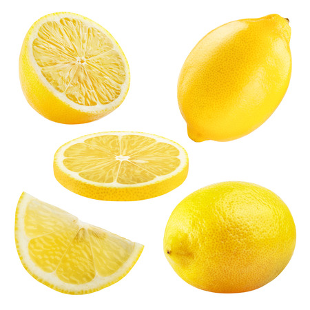 Set of ripe lemon fruits isolated on white background.
