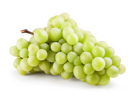 白い背景に分離された緑のブドウ束。クリッピング パス 写真素材