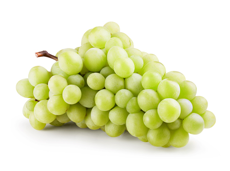 Green grape bunch isolated on white background. Clipping Path