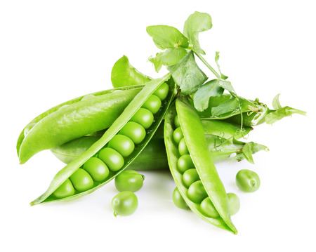 Fresh green peas with leafs isolated on white background