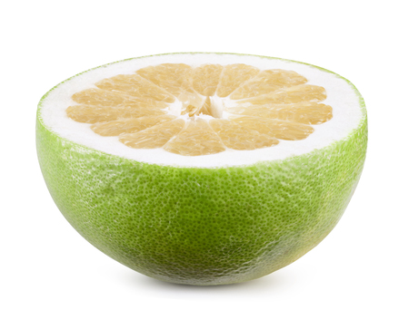 peel: Sweet green grapefruit isolated on white. Clipping path