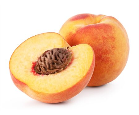 sliced: ripe peach on white background. Clipping Path Stock Photo