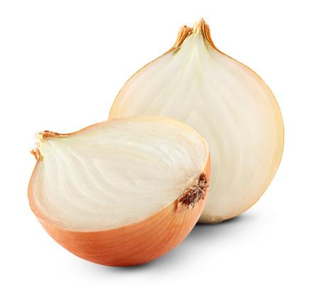 白い背景の上の新鮮な完熟玉ねぎ
