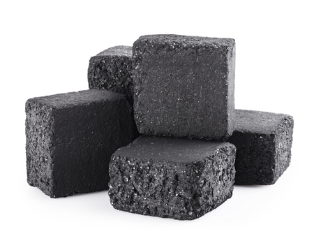 calorific: Group of charcoal cubes isolated on white background