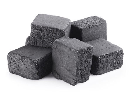calorific: Group of charcoal cubes isolated on white background. Clipping Path