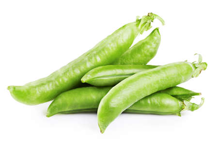 heap of snow: Fresh green peas isolated on white background Stock Photo