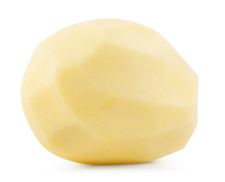 nutritive: Raw peeled potatoes isolated on white background. Clipping Path Stock Photo