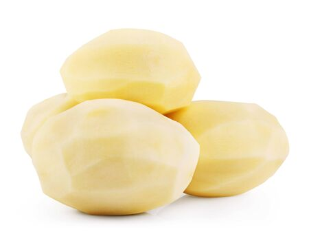 Raw peeled potatoes isolated on white background. Clipping Path Stock Photo