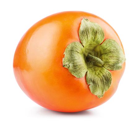 persimmon: Persimmon frutas aisladas sobre fondo blanco. Camino de recortes Foto de archivo