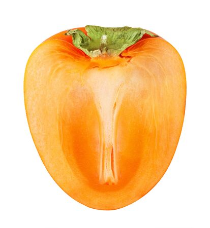 tacky: Ripe persimmon with cut isolated on white background. Clipping Path