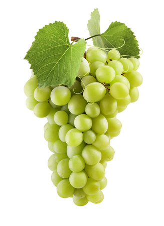 Fresh green grapes with leaves. Isolated on white Stockfoto