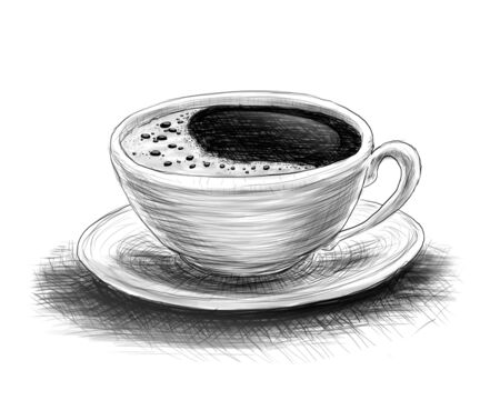 draw: hand-drawn sketch of coffee on a white background Stock Photo