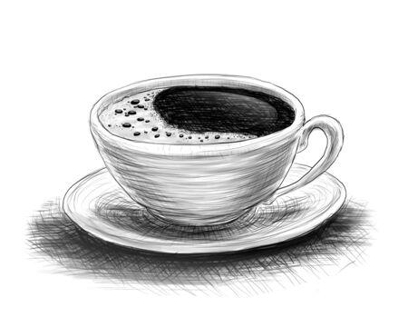 zeichnen: handgezeichnete Skizze von Kaffee auf einem weißen Hintergrund Lizenzfreie Bilder