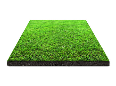 square of green grass isolated on white background
