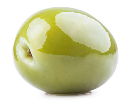 olive green: Fresh green olive isolated on white.