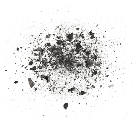 Many pieces of charcoal isolated on white background