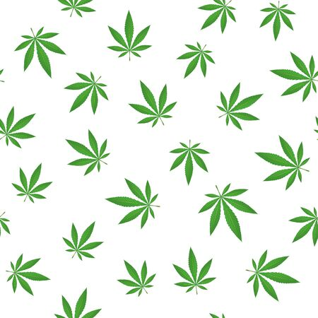 Marijuana leaves background vector seamless pattern.