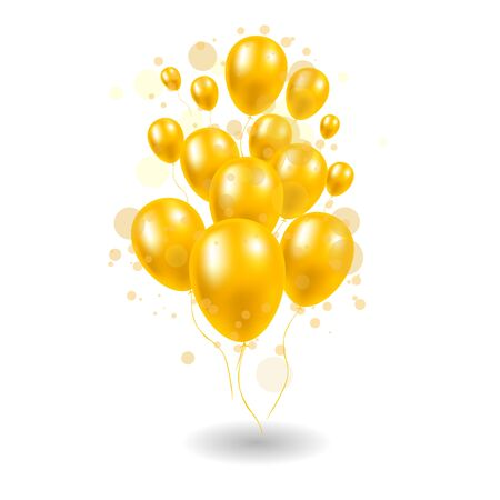 Golden balloons with confetti on a white background Illustration