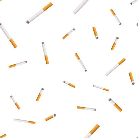 Whole cigarette and butt with yellow filter. Illustration on white background. Illustration
