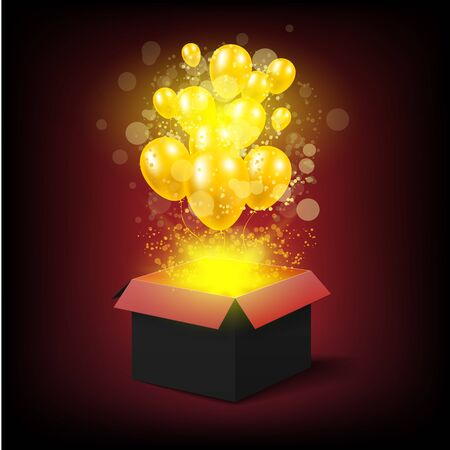 Happy birthday or celebration magic gift box with balloons. Illustration