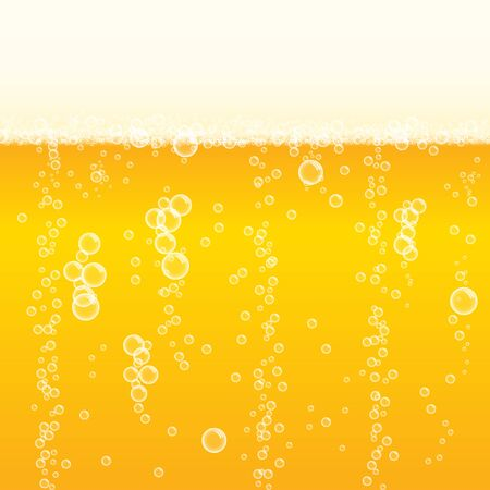 Background frothy lager beer with bubbles vector illustration