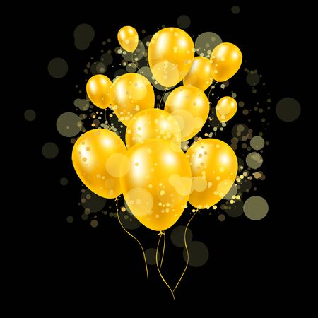 Golden balloons with confetti on a black background Illustration