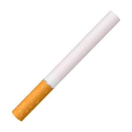 Whole cigarette with a yellow filter. Illustration on white background. Illustration