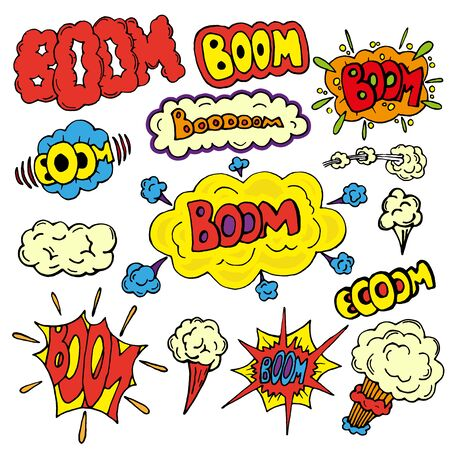 Comic sound effects in pop art vector style. Comic cartoon expression sounds illustration