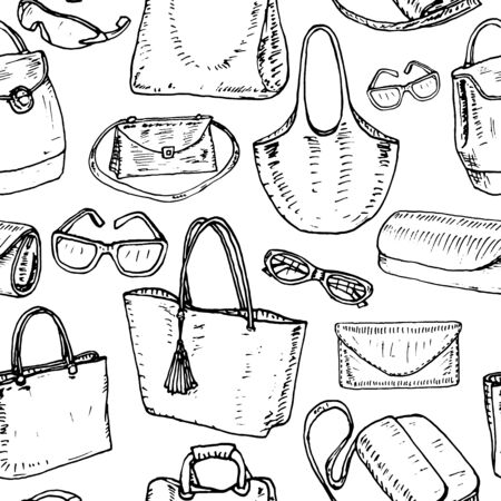 Pattern pretty women's bags. Vector illustration