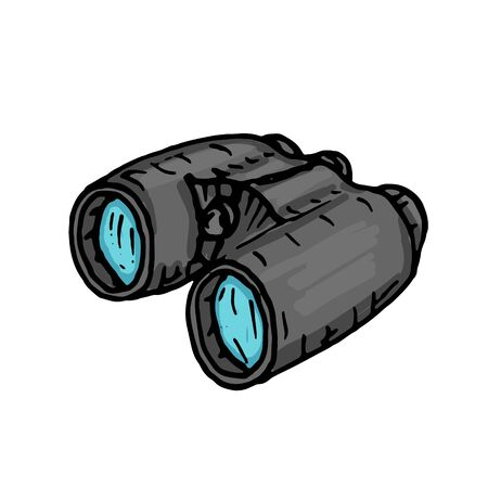 Sketch binoculars for hunting on a white background