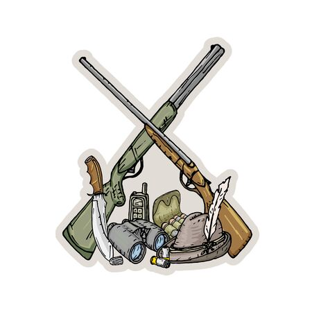 Set of items intended for hunting. Illustration