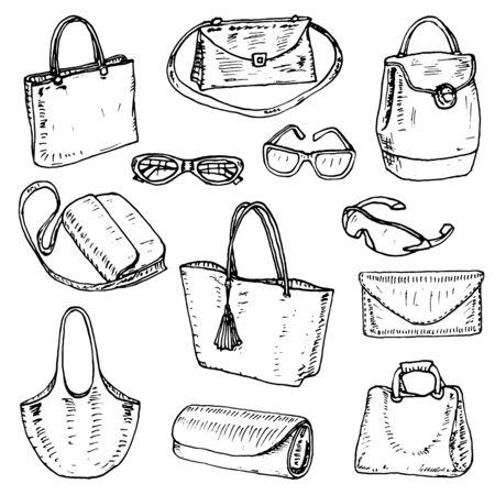 Set of pretty women's bags. Vector illustration