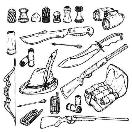Set of items intended for hunting. Ilustrace