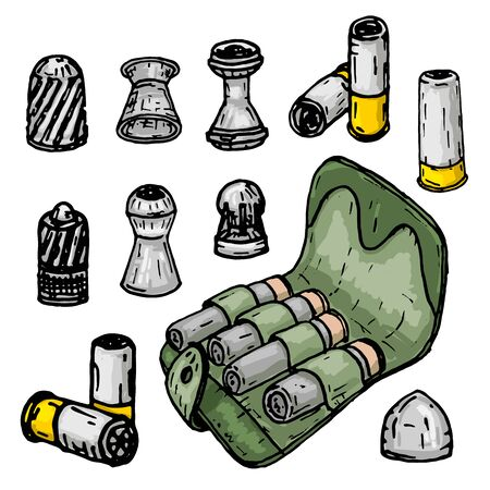 Lead bullets, cartridges and bandoleer on a white background