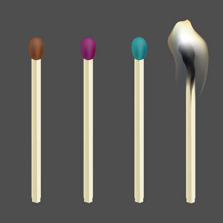 Realistic match. Set of wooden matches. Vector illustration