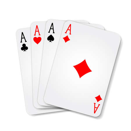 Winning poker hand of four aces playing cards suits on white Illustration