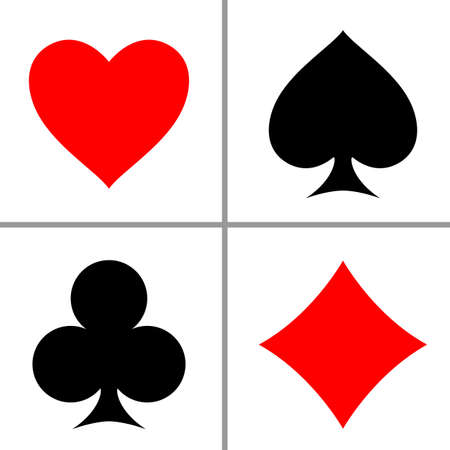 Suit playing cards isolated on white background. Vector illustration