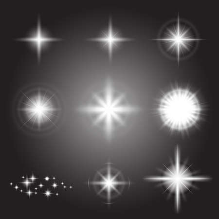Glowing lights effect, flare, explosion and stars Illustration
