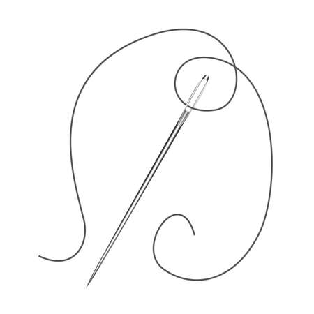 Needle tool for sewing on isolated white background Illustration