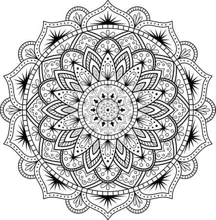 Ornement décoratif de style oriental ethnique. Motif circulaire en forme de mandala pour Henna, Mehndi, tatouage, décoration.
