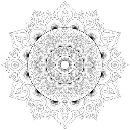 Decorative ethnic mandala pattern. Anti-stress coloring book page for adults. Unusual flower shape. Oriental vector, Anti-stress therapy patterns. Weave design elements Фото со стока - 128069293